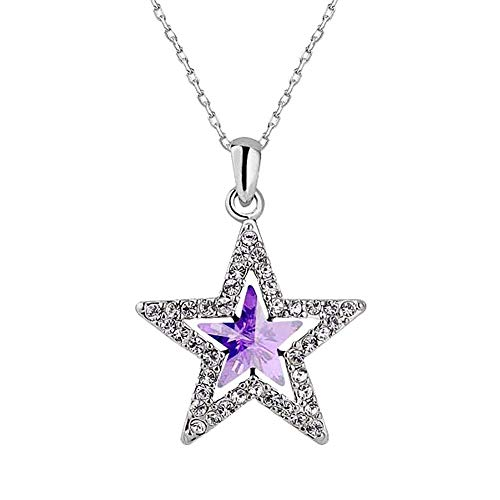 Strand Double New (New Women Necklace Pentagram Pendant Necklace FAVOT Alloy Crystal Creative Double-decker Star Choker Delicate Jewellery Women and Girls Anniversary,Birthday Gift (Purple))