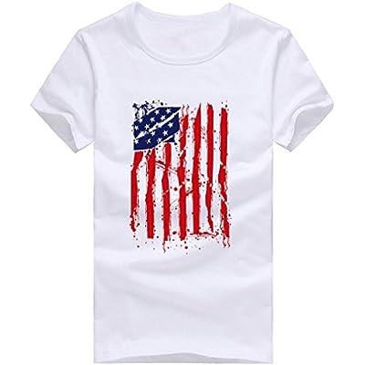 Men's Tee Shirt,Zulmaliu America Flag Tees Casual Tops Short Sleeve Shirt for July 4th