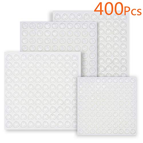 Clear Adhesive Rubber Bumper Pads-400 Pcs Sound Dampening Transparent Rubber Feet for Cabinet Doors,Drawers,Picture Frames,Glass Tops,Cutting Boards by Hedonism