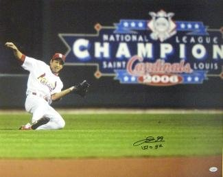 Signed Taguchi Photo - 16x20 Sliding 2006 World Series Champs English Japanese - Autographed MLB - Champs Series 2006 World