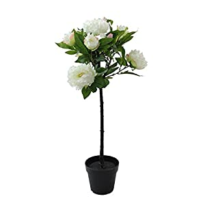 "Northlight 31"" Potted White Artificial Blooming Peony Flower Plant 12"