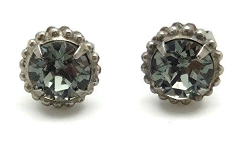 SORRELLI Dark Grey Round Cut Antique Silvertone Post Stud (Sorrelli Designer Earrings)