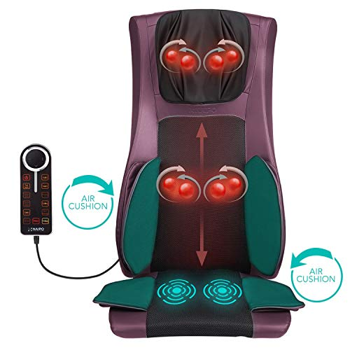 Naipo Back and Neck Massager Shiatsu Massage Chair Seat Cushion Pad with Heat Air Compression and Vibration for Ultimate Stress Relief of Neck Back Thighs and Hips (Purple)