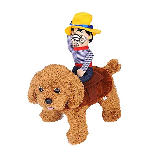 QLINLEAF Christmas Funny Pet Dog Costume Cowboy Rider Doll Cute Clothes Adjustable Funny Suit Small Size
