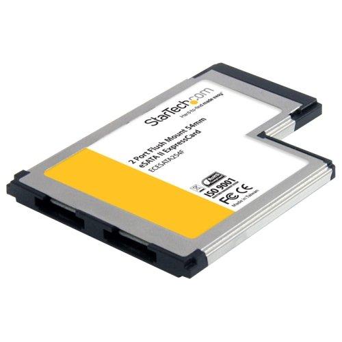 Startech ECESATA254F 2 Port Flush Mount ExpressCard 54mm eSATA II Controller Adapter Card by StarTech