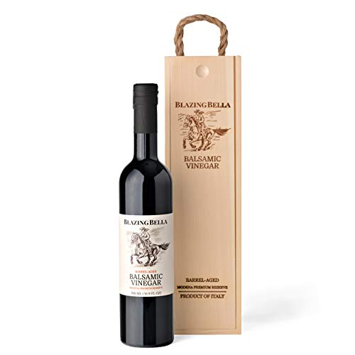 Blazing Bella Traditional Aged Balsamic Vinegar - Modena Italy Premium Reserve (Full Size with Gift Box) (Best Aged Balsamic Vinegar)