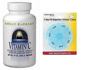 Source Naturals vitamina C sodio ascorbato cristales, soporta sistema de inmune, 16 onzas con