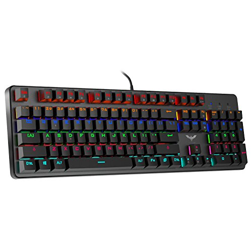 HAVIT LED Backlit Wired Mechanical Gaming Keyboard with Blue Switches,Black