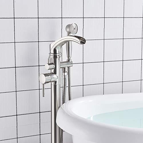 Senlesen Brushed Nickel Bathroom Single Handle Freestanding Bathtub Faucet Floor Mounted Waterfall Tub Filler with Hand Shower Set