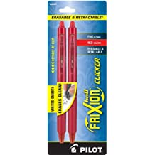 Pilot FriXion Clicker Retractable Erasable Gel Pens, Fine Point, Red Ink, 2-Pack -31462