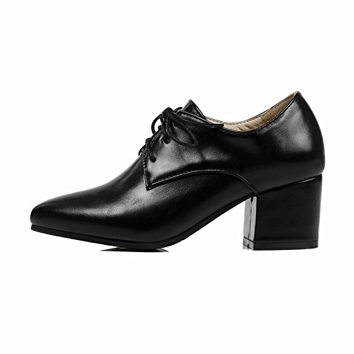 Mee Shoes Women's Work Lace Up Mid Heel Court Shoes Black YHdtN