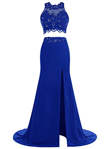 Tideclothes Two Pieces Beads Prom Dress Long Applique Evening Dress Split Royal Blue US10