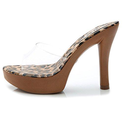 KPHY-Sommer EIN Wort Transparent Leopard Gut Cool Bei Fuß Sexy Cool Gut Hausschuhe Abdichtung 11Cm Pumps Sandalen fc947e