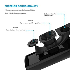 MEGACRA Sound Bar 2.0 Channel Bluetooth Home Theater Soundbar (Remote Control, 3D Audio Mode, Wirless and Wired Connections) (2017 Model) from MEGACRA LIMITED