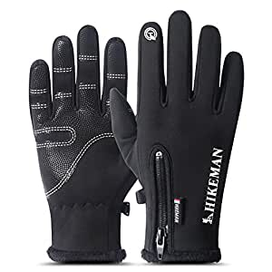 Ferry Fate Winter Gloves, Cycling Gloves Touch Screen Gloves Waterproof and Windproof Warm Gloves for Cycling Riding Running Skiing and Winter Outdoor Activities Men & Women (Black, M)