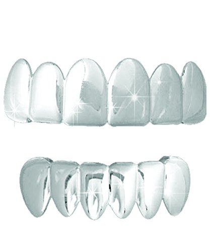 Silver Grill Teeth - Platinum Silver Tone Hip Hop Teeth Grillz Top & Bottom Grill Set …