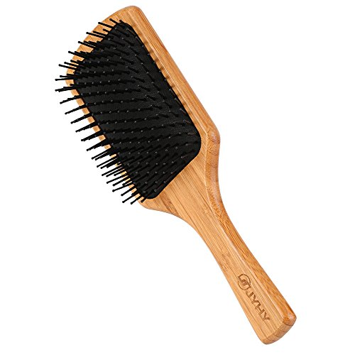 Price comparison product image JYHY Keratin Oil Infused Natural Wooden Massage Hair paddle Brush/Beauty SPA Massager Massage Comb/Big Size Hair Detangler Brush Improve Hair Growth,Black Pins
