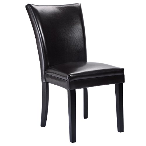 Giantex Set of 2 Elegant Design PU Leather Accent Dining Chairs Modern Home Furniture Dark Brown