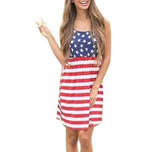 ZHENBAO Women'sTank Dress 4th July American Flag Stars Stripes Print Short Casual Shirt Dress Blue