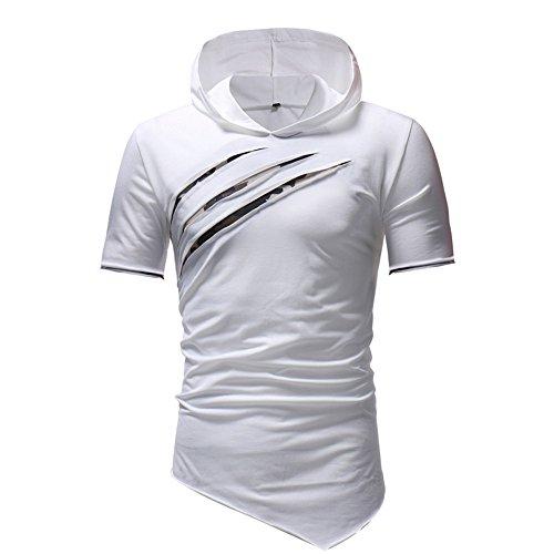 Mode Tops Amlaiworld Couleur Unie Blanc Manche Sweat Hommes T Courte Blouse À Capuche Shirt Ourlet Irrégulier Bqz6B
