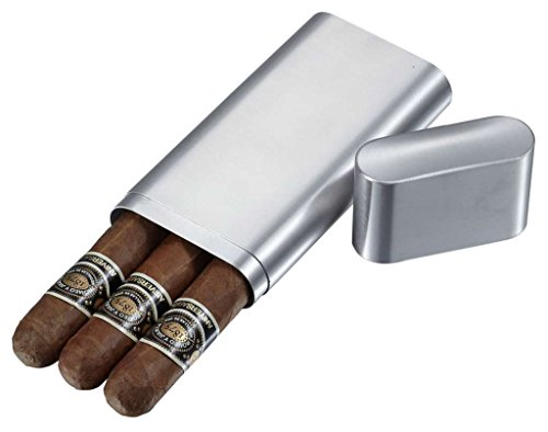 Visol Products Prato Stainless Steel 3-Finger Cigar Case