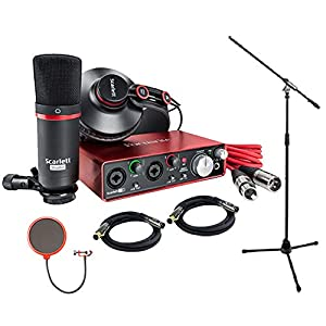 Focusrite Scarlett 2i2 Studio Pack & Recording Bundle – 2nd Gen w/ Pro Tools, Includes,Universal Pop Filter Microphone…