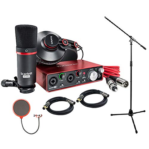 Bundle Recording - Focusrite Scarlett 2i2 Studio Pack & Recording Bundle - 2nd Gen w/ Pro Tools, Includes,Universal Pop Filter Microphone Wind Screen,10 Premier Series XLR Male-XLR Female 16AWG Cable&Microphone Stand