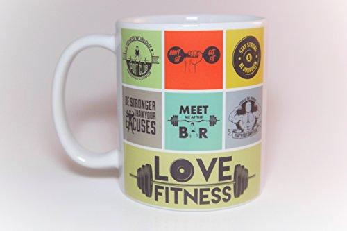 11 oz. Coffee & Tea Fitness Mug Art Collage for the fitness enthhusiasts.