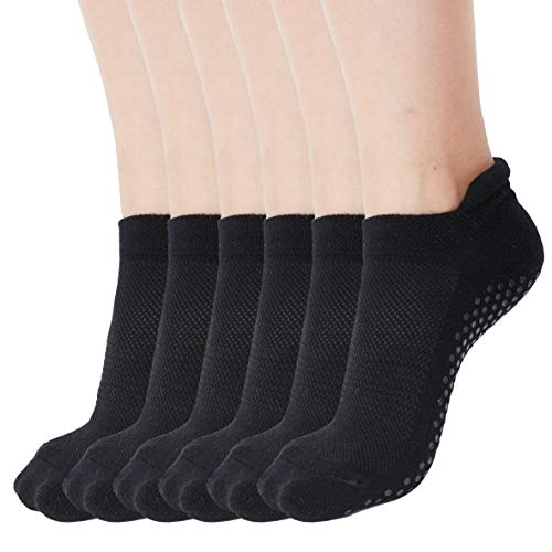 Yoga Socks for Women Non Skid Socks with Grips Barre Socks Pilates Socks for Women (black grip socks (3 Pairs) Size 6-10)