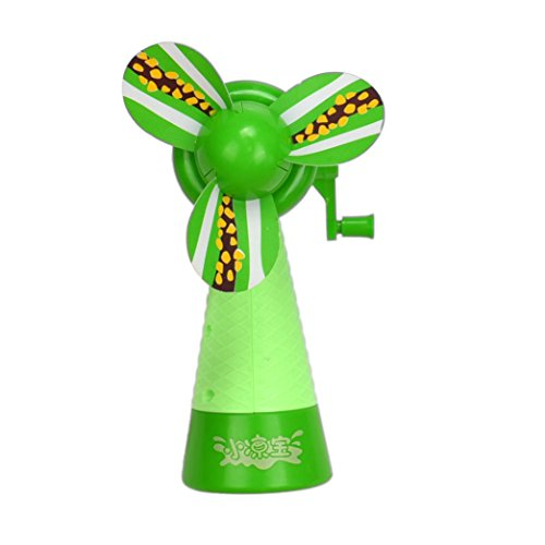 30 Mm Neon Green (Leegor Portable Kids Toys Manual Handheld Mini Fan No Battery Operated Low-Carbon Cartoon Cooler (Green))