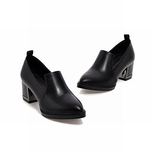 Carol Shoes Retro Donna Fashion Office Lady Uniforme Grosso Mocassino Con Tacco Medio Scarpe Nere
