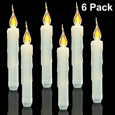 Beichi Battery Operated Window Candles, Flameless LED Tapered Candles with Amber Yellow Flickering Flame