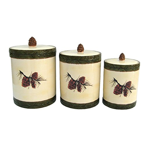 Ceramic Pine Cone Canister (Set of 3)