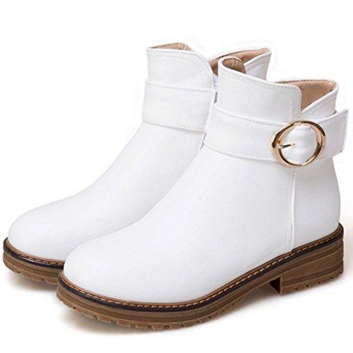 COOLCEPT Damen Casual Herbst Winter Zipper Booties Ankle High White