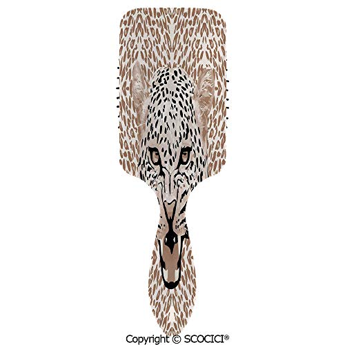 - Hair Brush with Air Cushion Combs Roaring Leopard Portrait with Rosettes Wild African Animal Big Cat Graphic for Scalp Massage Anti-static, No Hair Tangle