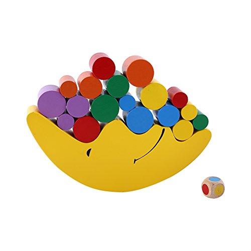2 Couleurs 1 set blocs d'équilibrage en forme de lune en bois pour l'apprentissage tôt et jouets éducatifs d'enfants (jaune)