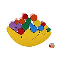 GLOGLOW Wooden Colorful Moon Balancing Blocks Toy for Toddler Kids,Early Learning Educational Building Blocks Birthday Children Gift(Yellow)