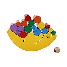 Balancing Blocks, Wooden Stacking Game Moon Balancing Kids Early Learning & Educational Toy, 1 Set Yellow Wood Building Montessori Mini Around Beads