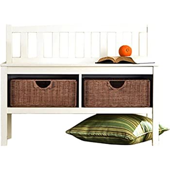 Hampton Wooden Seat Storage Bench With Rattan Baskets And Back   Great  Entryway Hallway Furniture