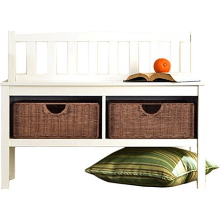 Hampton Wooden Seat Storage Bench with Rattan Baskets and Back - Great Entryway Hallway Furniture -...
