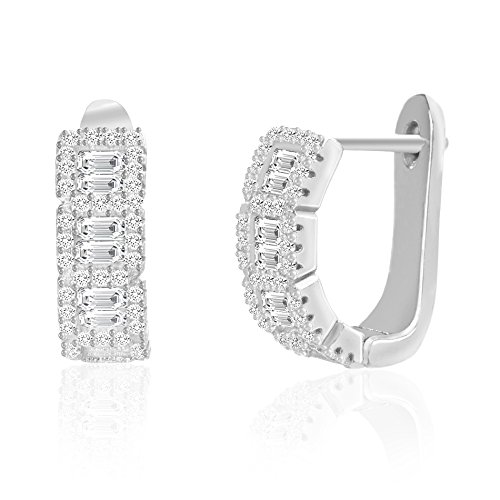 [18K White Gold Over Sterling Silver Round & Baguette Cubic Zirconia Huggie Hoop Earring] (Boys Snowflake Costume Uk)