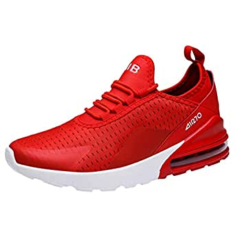 Men Mesh Lace-Up Athletic Shoes Flat Running Non-Slip Light Sport Sneakers (7, red)