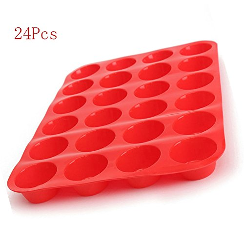 Silicone Muffin Pan 24-Cup Muffin PanNon-Stick Red Cupcake Baking Tray Mousse Cake Mold Muffin Pan (24 cake molds) by AOCK