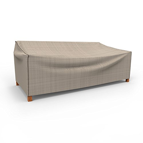 Budge English Garden Outdoor Patio Loveseat Cover, Large (Tan Tweed)