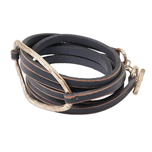NOVICA Leather Wrap Bracelet with Silver-Plated Brass Accent, 44