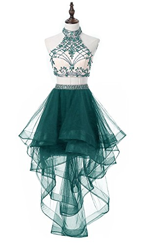 Homecoming Teal Dress (HEIMO Women's 2 Pieces Beaded Keyhole Back Homecoming Dresses Halter Beading Prom Gowns Short H199 12 Teal)