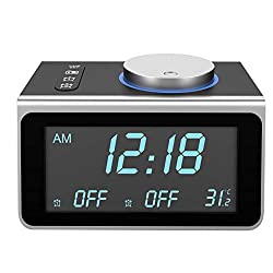 Alarm Clock Radio for Bedrooms, Dual USB Ports, Dual Alarms for Heavy Sleepers with 7 Alarm Sounds, 5 Level Brightness Dimmer, Snooze, Bedside FM Radio Alarm Clocks with Temp Display Headphone Jack