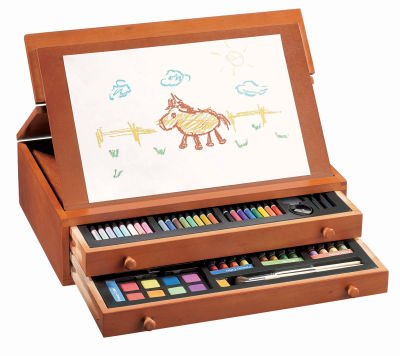 103 Piece, Young Artist Oil Pastels, Color Markers, Color Pencil, Water Color and Pencil Set In Wooden Box