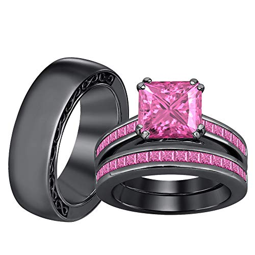 (SVC-JEWELS Princess Shaped 2.20cttw Pink Sapphire 14k Black Gold Plated 925 Sterling Silver Trio Ring Wedding Set for him and her)