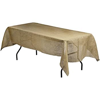 Superb LinenTablecloth Rectangular Jute Tablecloth With Fringe Edge, 54 By 108 Inch